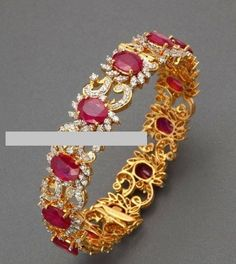 Diamond and ruby bangles