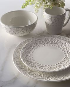 Love the Simplicity of white dinnerware. Scroll Dinnerware Service at Horchow. White Dinnerware, Dinnerware Sets, Vase Deco, Ceramic Pottery, Ceramic Art, White Dishes, White Plates, White Cups, Dinner Sets