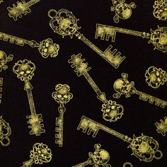 New - Gothic Golden Skeleton Keys - Kanvas Studio - 1 yard - More Available by BywaterFabric on Etsy