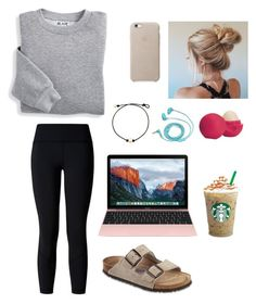 """""""Saturday morning"""" by gkite-1 ❤ liked on Polyvore featuring Blair, lululemon, Birkenstock, FOSSIL and Eos"""