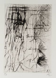 "Per Kirkeby (b 1938)  ~  ""Untitled"", 1995. Etching on paper (19.8 x 13.6 cm). 