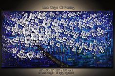 """48"""" Spring in the Sky Original Abstract Painting Modern Textured Palette Knife by Lana Guise"""