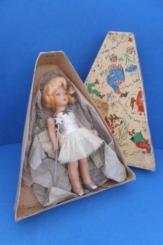 Vintage-Antique-1940s-Rosebud-Angel-Fairy-Doll-Composition-Xmas-Tree-Decoration
