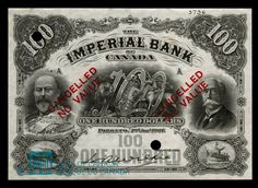 Canada, Imperial Bank of Canada, 100 dollars : January 1907 Ontario City, London Wall, Canadian Coins, Euro Coins, United States Mint, 100 Dollar, January 2, Banknote, Old Coins