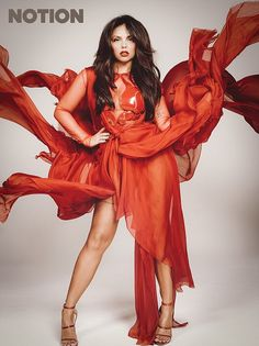 Red-dy to slay: Jesy Nelson led the way in semi-sheer red ensemble which teased a glimpse ...