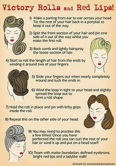 Victory rolls are one of the great legends of vintage hairstyling. check out this page for more information.