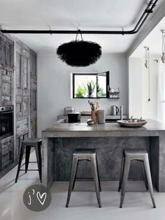 cabinetry and concrete island