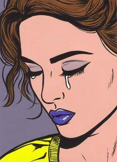 Blue Lips Pop Art