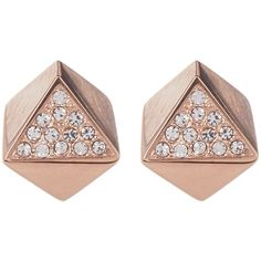 Fossil Pave Crystal Geo Stud Earrings (1,550 INR) ❤ liked on Polyvore featuring jewelry, earrings, accessories, rose gold, stud earrings, post earrings, crystal stud earrings, rose gold tone earrings, fossil jewelry and geometric stud earrings