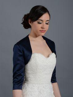 Navy Blue 3/4 sleeve wedding satin bolero jacket Satin009_NavyBlue
