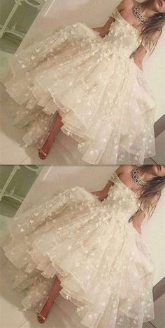 High loew white prom dress, charming applique Prom