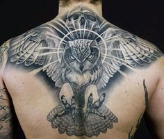 Male Owl Tattoo Back