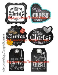 Printable Digital Download Files for Chalkboard Style Gift Tags or Labels Come Unto Christ Young Women 2014 Theme YW