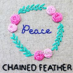 Chained feather stitch of feathered chain stitch hand embroidery tutorials Feather Stitch, Hand Embroidery Tutorial, Chain Stitch, Crochet Necklace, Tutorials, Wizards