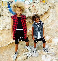 Tiger + Bamboo...the coolest rockstar bro's I ever did see! ✌🏽️😎 Both STYLING with Tiger wearing our Buffalo Plaid Sleeveless shirt- available online now! ❤️ www.beauhudson.co  Thanks for the rad snap @sil_fash they are too cool! 😍😘