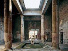Atrium - In Roman domestic architecture, an inner courtyard open to the sky and surrounded by the roof. Photo credit: Atrium, House of the Silver Wedding, Pompeii. Ancient Ruins, Ancient Rome, Ancient History, Ancient Greece, Pompeii Italy, Pompeii And Herculaneum, Roman Republic, Between Two Worlds, D House