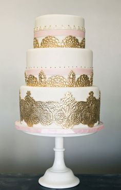 White Tiered  fondant Cake with Gold Lace applique