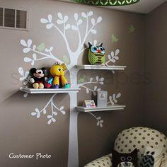 Nursery Tree Shelf Shelves with Bird Nest Leaf Leaves Birds Art Decals Wall Sticker Vinyl Wall Decal Stickers Living Room Bed Baby Room Tree Decals, Vinyl Wall Decals, Wall Stickers, Sticker Vinyl, Girl Room, Girls Bedroom, Child's Room, Pink Bedrooms, Tree Shelf