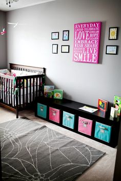 i'm using our IKEA bookshelf the same way in the room, jsut on its side, one level. safe and easy!...playroom