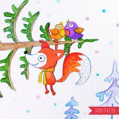 """Aquarell """"Weihnachtsbaum"""" von Doro Kaiser #Kinderillustration #Weihnachtsbaum #winter #Vögel #Fuchs"""