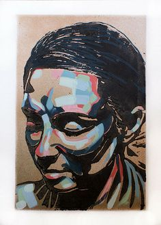 lino and paint by Oliver Winconek.  Apart/ Portrait/ Mixed Media/