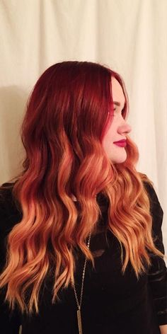 Red Ombre Hair Color Fomrula with Organic Color Systems! Natural Level: 6 Base: … Red Ombre Hair Color Fomrula with Organic Color Systems! Ombre Hair Natural, Orange Ombre Hair, Best Ombre Hair, Brown Ombre Hair, Fire Ombre Hair, Bright Red Hair, Bright Hair Colors, Ombre Hair Color, Organic Colour Systems