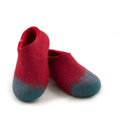 fe283a15c Handmade felted wool slippers for women, merino felt slippers red & blue by  Wooppers woolen slippers. by Wooppers on Etsy
