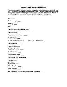 Freebie Secret Pal Questionnaire For Educators Secret Pal