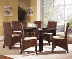 Beautiful Seagrass Dining Set Of 7