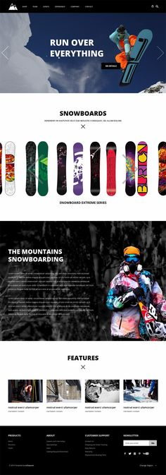 Snowboarding - Flat Responsive Free Template - This seems like the snowboards scrolls through, which s a nice touch. Love the big images. Website Layout, Web Layout, Layout Design, Beautiful Website Design, Website Design Inspiration, Interface Web, Interface Design, Responsive Web Design, Ui Web