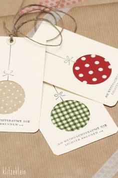 gift tags or christmas cards with fabric scraps Christmas Cards To Make, Christmas Gift Wrapping, Handmade Christmas, Christmas Christmas, Christmas Ornament, Christmas Projects, Holiday Crafts, Holiday Fun, Festive