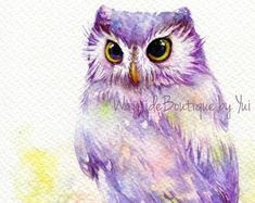 PRINT owl Watercolor painting x 11 Cute Baby Owl, Baby Owls, Owl Watercolor, Watercolor Paintings, Artwork Prints, Fine Art Paper, Art Drawings, Rainbow, Artist