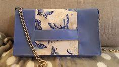 """Pochette Cachôtin bleu imprimé """"papillons"""" cousue par Marie-Hélène - Patron gratuit Sacôtin"""