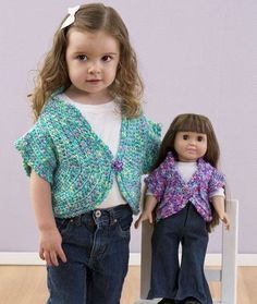 "just like me crochet shrug for little girl and 18"" doll 