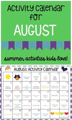 I can't believe it's already August! Where did the summer go? I apologize for posting this activity calendar so late. I hope you'll finish the summer out with these super fun activities! Summer Fun For Kids, Summer Activities For Kids, Learning Activities, Preschool Activities, Indoor Activities, Kids Fun, Family Activities, August Summer, Babysitting Activities