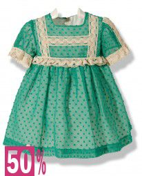 Vestido en plumeti de gasa verde