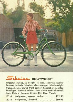 Vintage Schwinn catalog Hollywood cruiser bike. Look at the price!