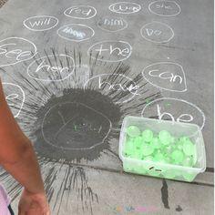 Sight Word Water Balloon Toss - Summer Activities for Kids - Education Sight Word Activities, Teaching Activities, Fun Learning, Teaching Kids, Summer Activities For Kids, Toddler Activities, Sight Word Practice, Sight Word Centers, Kindergarten Literacy