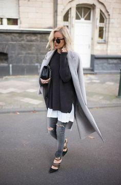 mantel grau damen modetrends herbstmode farben