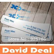 Shipped Via DHL Customized Logo New Material Plastic PVC Lucid distinct business card printing visit cards printing(China (Mainland))