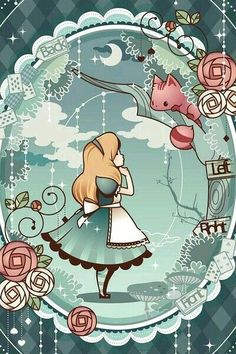 <IPhone wallpaper wallpaper - computer wallpaper - Avatar - Illustration - text - - Anime - Tile - Moe matter - Cartoon - People> → Yes_GirL - Alice in Wonderland Art Disney, Disney Kunst, Disney Love, Alice Disney, Anime Pokemon, Chesire Cat, Alice Madness, Adventures In Wonderland, Wonderland Alice