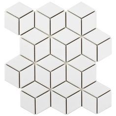Metro Rhombus Matte White in. x 5 mm Porcelain Mosaic Tile FMTRHOMW Bring a modern, geometric look to your home with the Merola Tile Metro Rhombus Matte White in. x 5 mm Porcelain Mosaic Tile. Glass Mosaic Tiles, Mosaic Wall, Wall Tiles, Backsplash Tile, Tiling, Porcelain Tile, White Porcelain, Rhombus Tile, Wood Look Tile