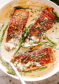 This Garlic Dijon Salmon recipe makes juicy, flaky, and flavorful salmon fillets pan seared in a delicious cream sauce with dijon mustard and garlic. Pan Fried Salmon, Oven Baked Salmon, Baked Salmon Recipes, Fish Recipes, Seafood Recipes, Cooking Recipes, Healthy Recipes, Dijon Cream Sauce, Dijon Mustard Sauce
