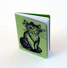 Green journal cool cat altered journal embossed by ThePurpleTable, $9.00