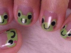 Cute Nail Art: Frog Nails Art Cute ~ Nail Art Inspiration My teacher would already want these on her fingers! Cute Simple Nails, Pretty Nails, Cute Simple Nail Designs, Cute Short Nails, Jolie Nail Art, Gel Nails, Nail Polish, Nagellack Design, Funky Nails