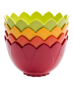 This Red & Green Tulip Bowl Set by Zak Designs is perfect! #zulilyfinds