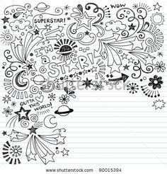 stock vector : Hand-Drawn Superstar Scribble Inky Doodles- Back to School Notebook Doodle Design Elements on Lined Sketchbook Paper Vector Illustration