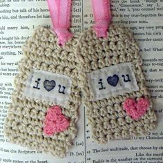 Say I LOVE YOU  Set of 2 Shabby Chic Crochet Gift Tags by JoyHanna, $6.50