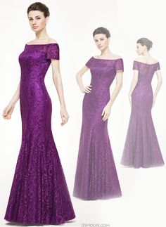 This floor-length dress makes a striking impression with its stunning color and allover lace and off-the-shoulder neckline! #jjshouse #motherdress #lace