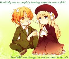 Fem!Italy and Fem!HRE. This makes so much sense. Since HRE thought Italy was a girl it's the other way around, Fem! HRE thinks that Fem!Italy is a boy.